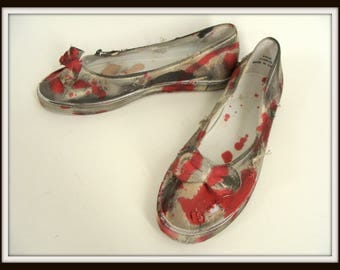 Zombie Shoes. Zombie Costume. Custom Made Bloody Zombie Shoes. Blood Spattered Shoes. Scary Halloween Costume. Vampire Victim. Womens Size 9