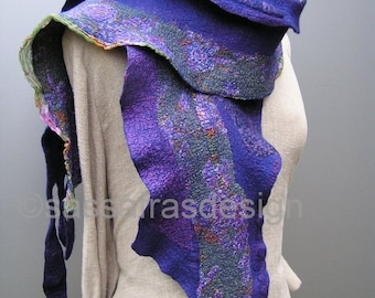 Hand felted sculptural scarf, outstanding artistic handmade shawl, bohemian style accessory, cosy, reversible art scarf,  silk wrap