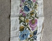 Vintage Jacobean Crewel Embroidery Canvas