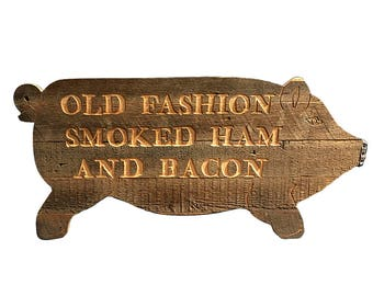Rustic Pig Sign Old Fashion Smoked Ham and Bacon Pig Sign
