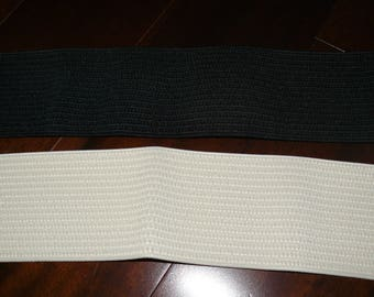 3'' Wide Black, Ivory Elastic for waistband, 1 yard