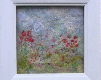 Needle Felted Flower Picture   Embroidered Picture   Fibre Art   Wall Art  Felt Flowers  Textile Art  Fabric Art  Framed   Needle Felting