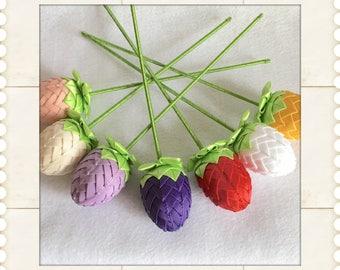 Handmade tulip flowers made from ribbon