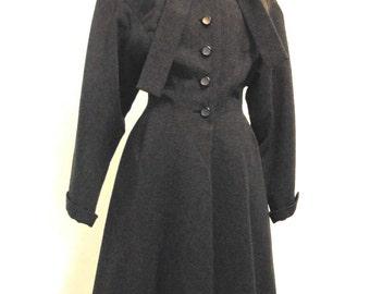 Vintage 1940s Princess Coat. Post War Neiman Marcus. New Look. Sm Med