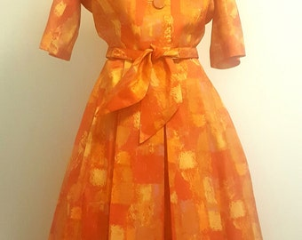 Vintage 1950s Day Dress. Orange Yellow Acetate. Full Skirt. Med to Med Lg