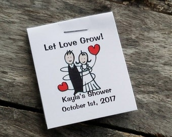 Cute Mini Bride and Groom Flower Seed Favors - Bridal Shower Favors - Wedding Favors Personalized for your Event - Seed Packets