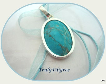 Handmade Sterling Silver Pendant / Turquoise Cabochon Gemstone / Organza Cord