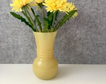 Anchor hocking fired-on yellow vase - vintage glass vase with painted finish - 1950s