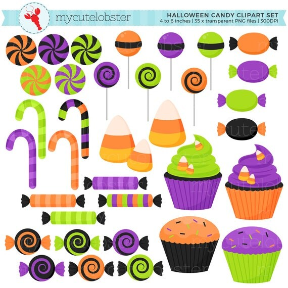 Halloween Candy Clipart Set - clip art set of candy, sweets ...