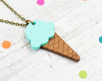 Mint Green Necklace | Ice Cream Necklace | Mint Ice Cream | Mint Choc Chip | Summer Jewellery