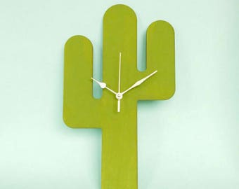 Cactus Gift | Housewarming Gift | Cactus Clock | Cactus Decor | Cacti Wall Clock | Decorative Clock | Kitchen Clock
