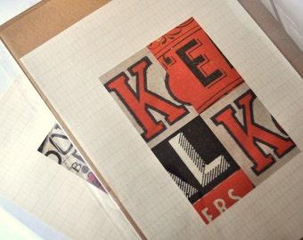 Vintage typography collage print