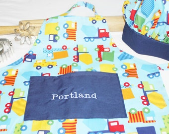 Personalized Primary Colored Trucks Child Apron and Adjustable Chef Hat with Navy Band - made to order