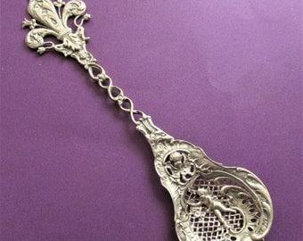 On Sale Coppini Antique 800 Silver Angel Fleur De Lis Antique Italian Serving Spoon