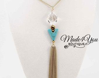 Gold Tassel Charm Necklace - Turquoise Gold Crystal Tassel Necklace