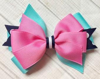 Aqua Pink Navy Pinwheel Bow-Eleanor Rose bow, Spring Hairbow, Aqua Hairbow, Pink and Navy Hairbow, Cotton Candy, Birhday Bow