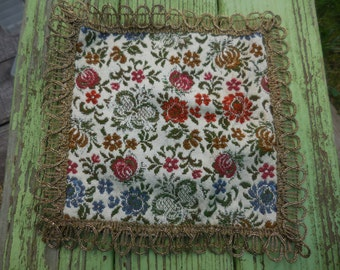 Vintage 1960s to 1970s German/Swedish Doily Gold Thread Orange/Mustard/Blue Flowers Off White Small Square Furniture Protector Embroidered