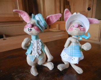 Vintage 1965 Easter Bunny Rabbits Set of Two/Pair Female and Male Hat and Bonnet Annalee Mobilitee Dolls N.H. 1960s Retro Decor