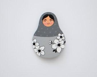 Brooch Babushka Russian Nesting Doll