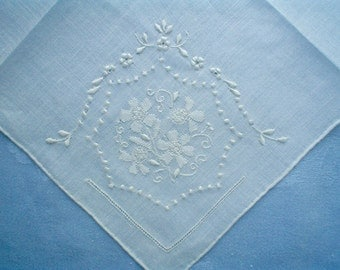 New Hankie with Fanciful Flowers Hand Embroidered Madeira Linen Vintage Handkerchief with Label
