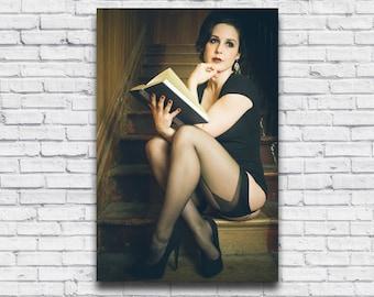 Vintage Girl Reading Photo, Sexy Pin Up in Stockings Print, Velvet DeCollete