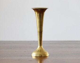 Vintage Solid Brass Vase, Simple 8 inch trumpet shaped Vase