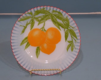 Depression Glass Petalware Salad Plate with Peaches, Fired On Red Trim