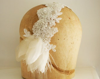 SALE- Bridal head band, hair piece, flapper, 1920s, lace and hand pressed pure silk organza, ostrich feathers