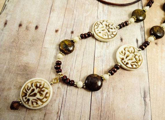 Boho Wood, Leather, Carved Bone Lotus and Bronzite Gemstone Necklace