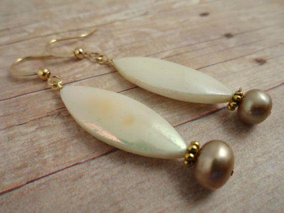 Mother of Pearl Earrings, Mother-of-Pearl Earrings, Mother of Pearl & Taupe Freshwater Pearl Earrings, Long Oval Earrings, White and Taupe