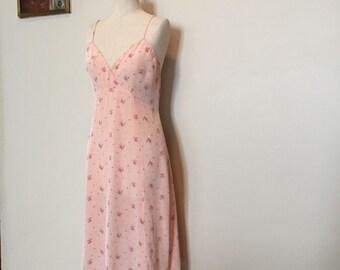 Vintage 30s 40s Pink Floral Rayon Slip