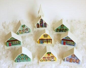 Putz Plastic Village, Plastic Christmas Houses, Alpine Village Set, Vintage Christmas Church Cathedral