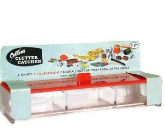 Vintage Office Supply: Desk Organizer Box, Craft Storage Container, Plastic Drawer Organizer, New in Package