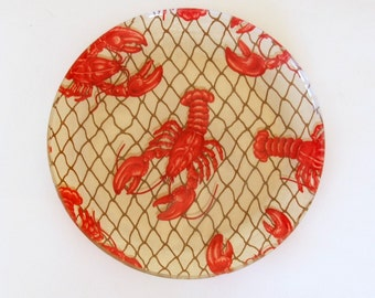 Vintage Lobster Tray, Round Glass Platter, Beach House Decor, Large Serving Plate, Nautical Wall Art