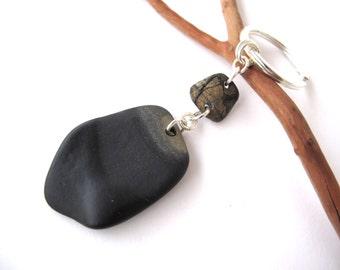 Rock Keychain Beach Stone Keyring River Stone Key Holder Mediterranean Natural Stone Pebble Keychain BABILLON