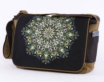 Mandala Messenger Bag, Laptop Bag, 13 inch 15 inch Laptop Messenger Bag, Canvas Messenger Bag, Uv, Glow In The Dark