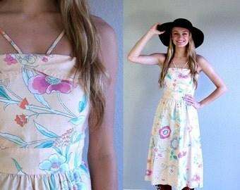Sale vtg 70s peach FLORAL PRINT boho Sun DRESS xs romantic hippie art nouveau bohemian