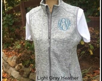 Monogrammed Heathered Vest ~ Monogrammed Charles River Knit Vest ~ Monogrammed Pacific Heathered Vest ~ Personalized Heather Vest