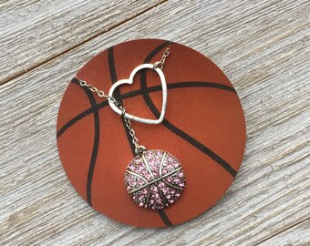 Pink Basketball Lariat Necklace with Rhinestones & Heart Pendant, handmade jewelry