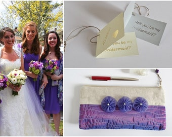 Will You Be My Maid of Honor Personalized Gift Purple Wedding Clutch Romantic Cosmetic Bag