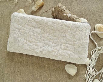 Glam Bride Clutch, White Silver Glitter Lace Bridal Shower Purse Gift for Her
