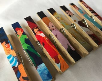 Peter Pan Baby Shower or Birthday Favor, Prize, Gift Clothespin Magnets - Set of 8