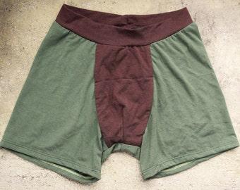 Boxers. Men's Underwear. Undies. Bamboo Underwear. Bamboo Undies. Brown. Green.