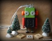 Robot Ornament - E Bot - Upcycled Ornament - Hanging Decor by Jen Hardwick