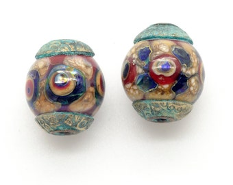 Ancient Tribal Beads with Bronze Bead Caps
