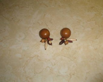 vintage clip on earrings finished wood dangles