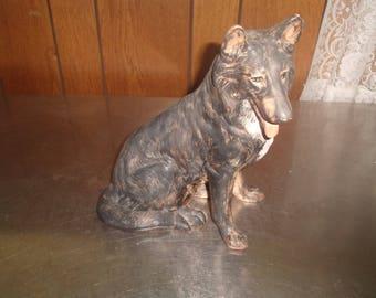 vintage dog puppy figurine shepherd figurine ceramic