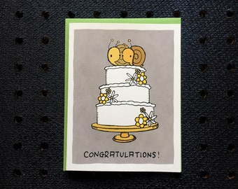 wedding snail cake card, congratulations wedding card, screen printed card, cute greeting card