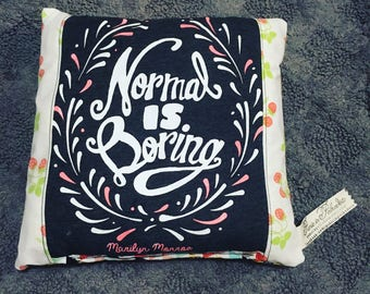 Tooth Fairy Pillow - Normal is Boring - Made from an Upcycled Tshirt and Coordinating Fabrics