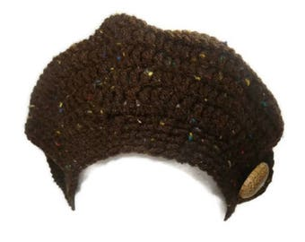 Crochet Brown Hat With Coconut Button Tam  Beret Fall fashion